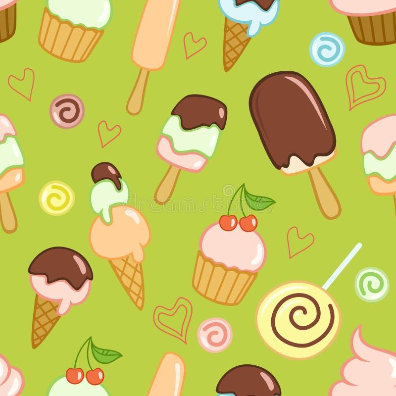 Le modèle vert sans couture avec le crème, des petits gâteaux, des sucreries et des coeurs illustration libre de droits