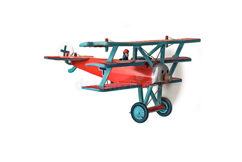 Le mod?le rouge d'avion de baron a captur? d'isolement de l'arri?re images stock