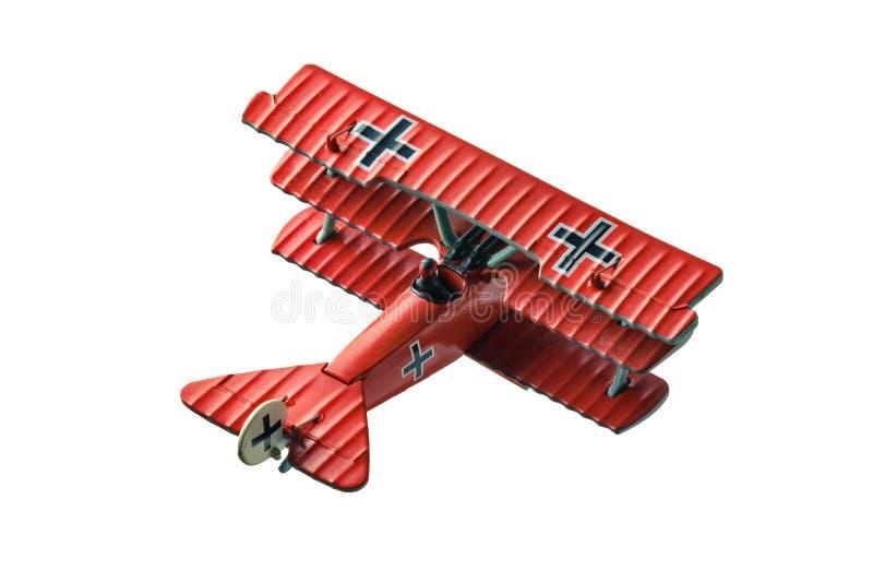 Le mod?le rouge d'avion de baron a captur? d'isolement de l'arri?re image stock