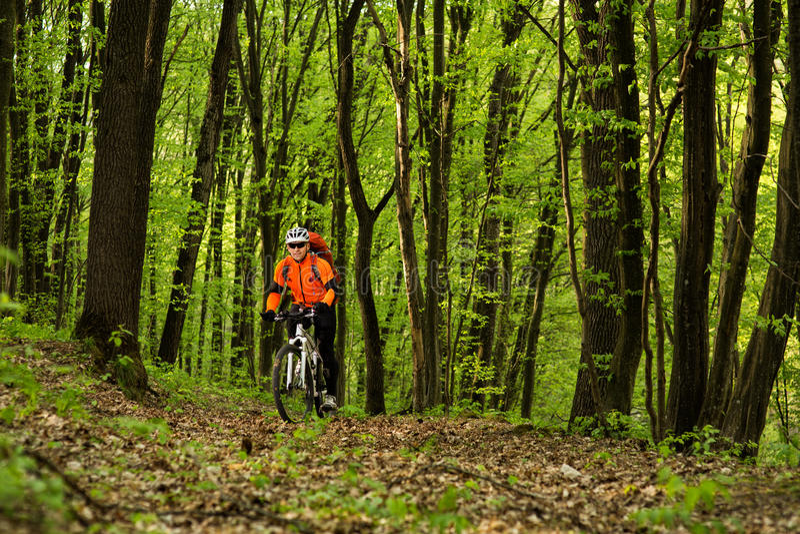 Le mode de vie et le concept sains de forme physique avec le bâti font du vélo l'homme extérieur photos stock
