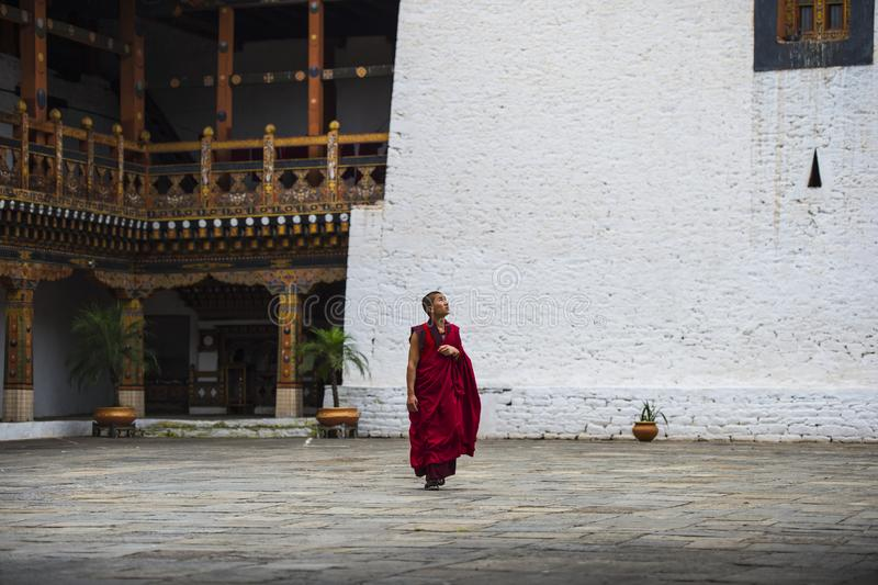 Le moine bouddhiste bhoutanais seul marche à l'intérieur de Dzong, Bhutan photo libre de droits