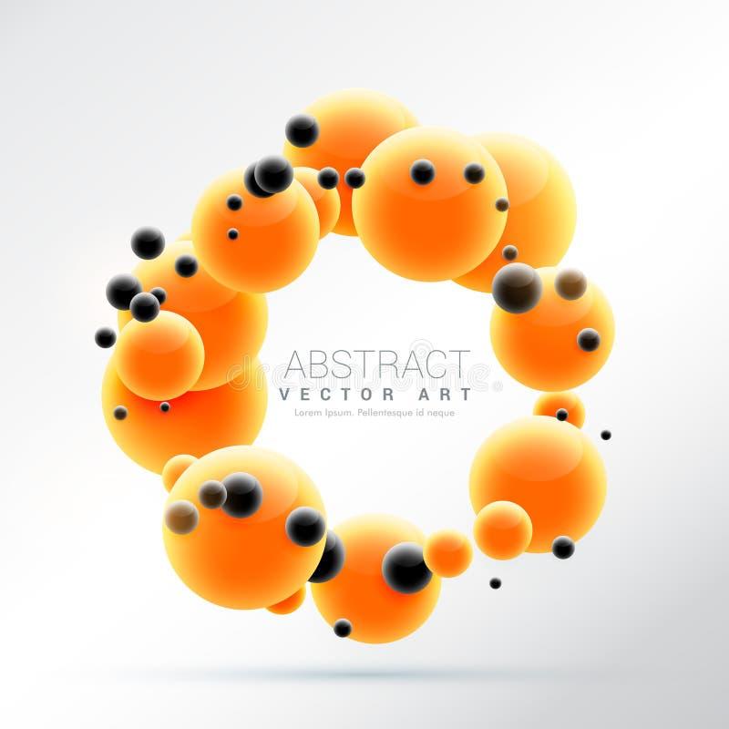 Le molecole arancio luminose modellano il fondo della struttura della sfera 3d illustrazione di stock