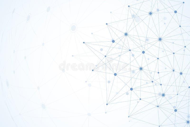 Le molecole astratte collegano la progettazione con i punti e le linee La struttura della tecnologia degli atomi con collega gli  royalty illustrazione gratis