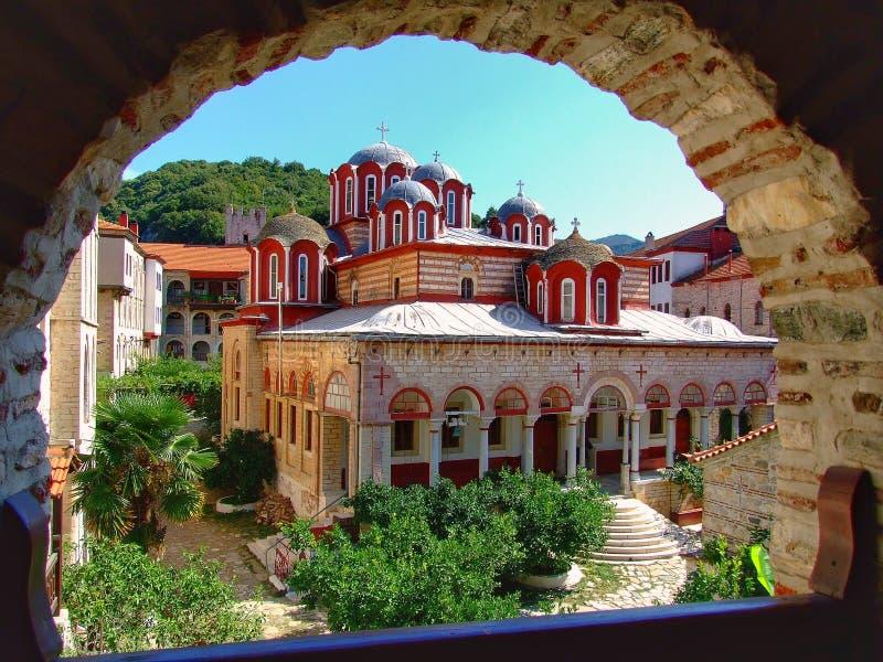 Le monastère d'Esfigmen dans l'état monastique du mont Athos photographie stock libre de droits