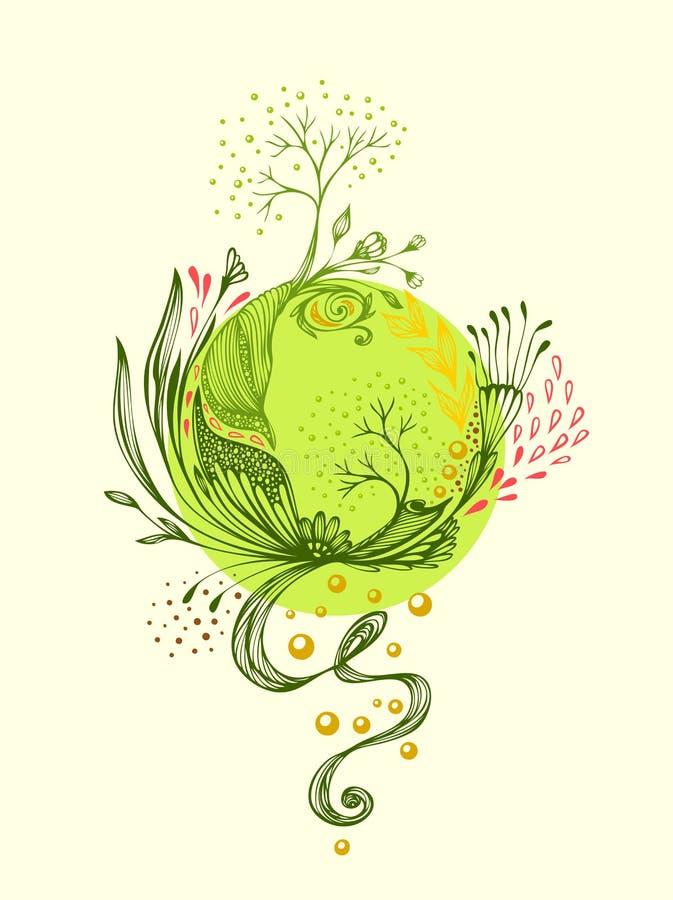 Le monde abstrait avec des fleurs d'arbres laisse la planète de pétales dans le vert illustration libre de droits