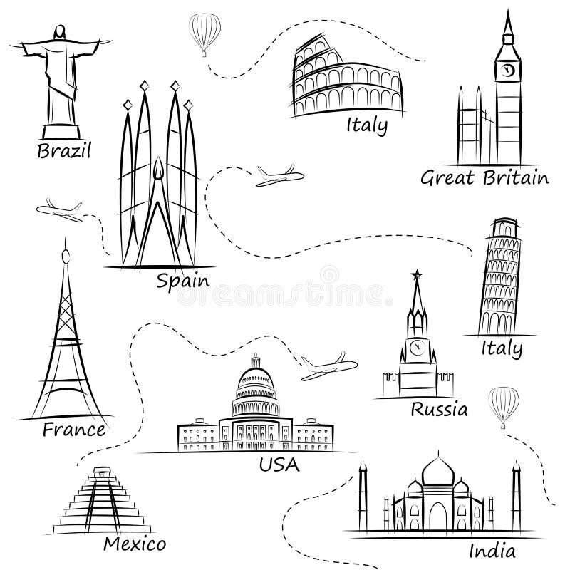 Le monde aperçoit des icônes réglées Les attractions touristiques les plus populaires du monde s illustration libre de droits