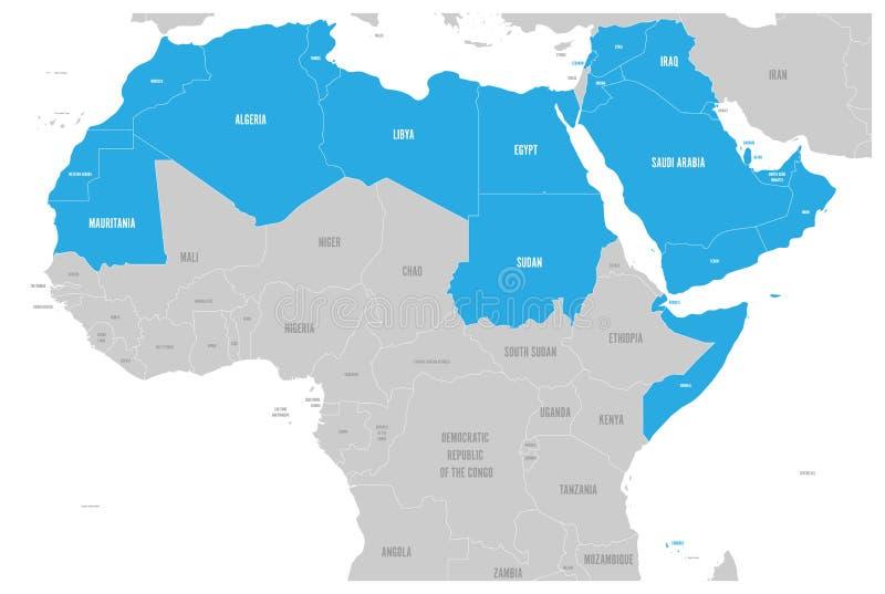 Le monde arabe énonce la carte politique avec higlighted 22 pays arabophones de la ligue arabe L'Afrique du nord illustration libre de droits