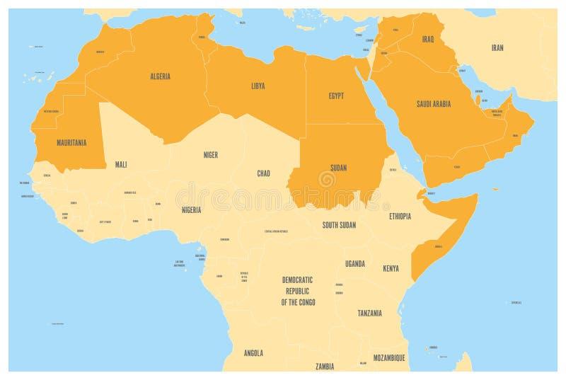 Le monde arabe énonce que la carte politique avec l'orange higlighted 22 pays arabophones de la ligue arabe L'Afrique du nord illustration libre de droits