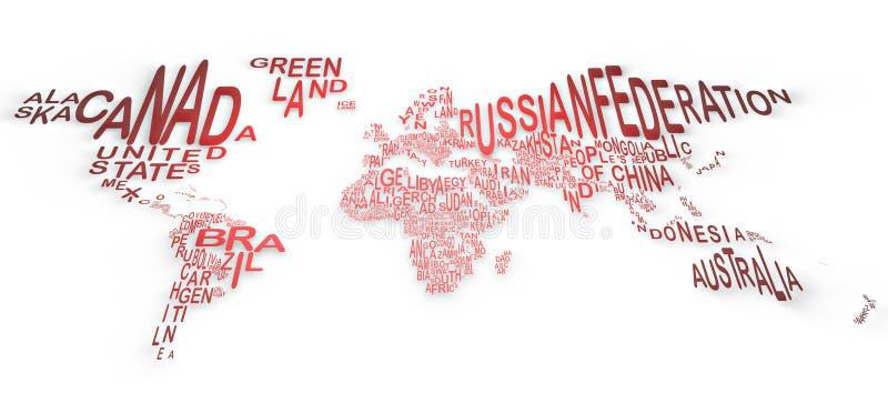Le monde dans les mots, planisphere illustration stock
