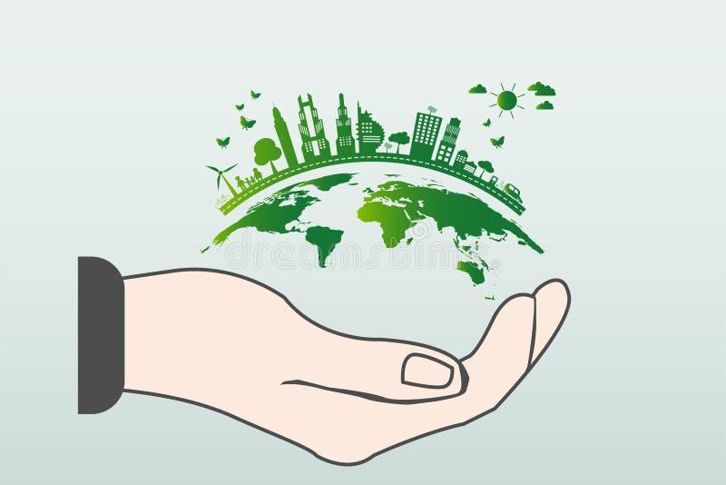 Le monde dans votre concept d'écologie de mains Les villes vertes aident le monde avec l'idée qui respecte l'environnement de con illustration stock