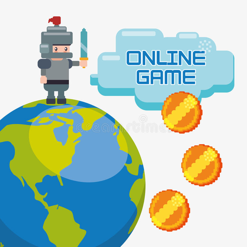le monde de charatcer de jeu sur Internet invente d'or illustration de vecteur