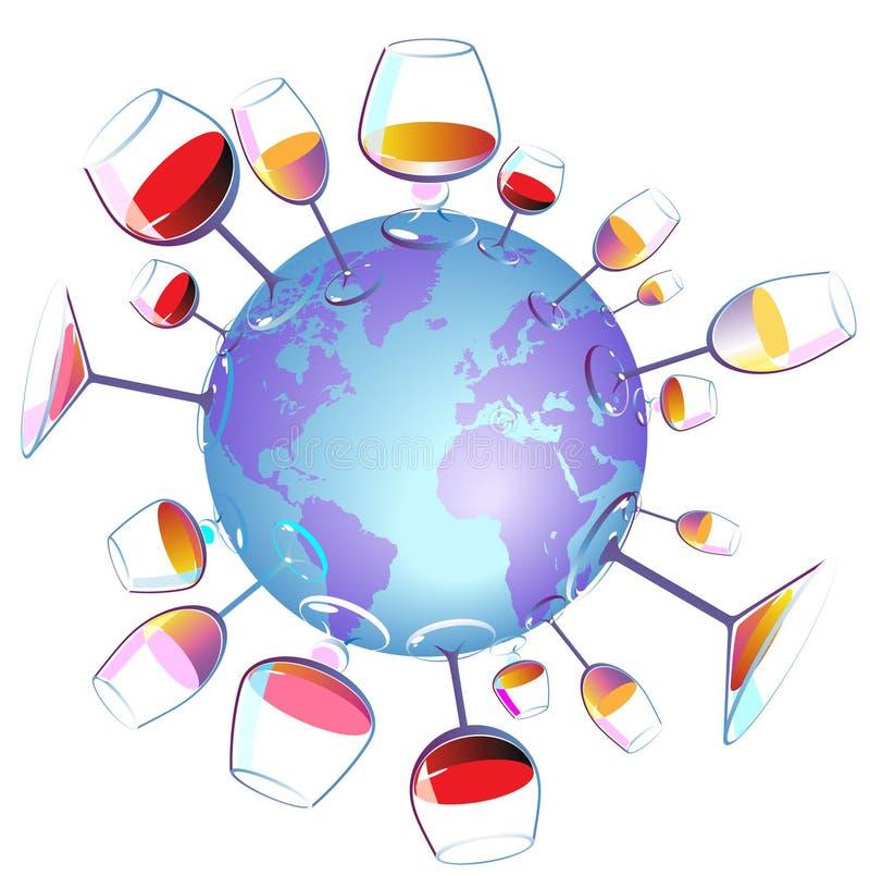 Le monde de vin a isolé illustration libre de droits