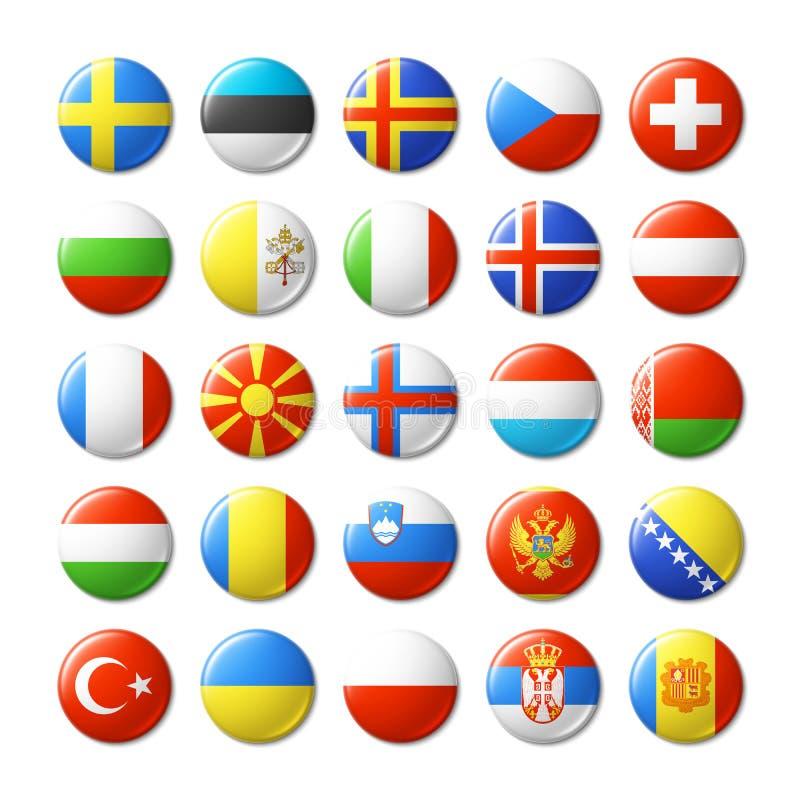 Le monde diminue autour des insignes, aimants l'europe illustration stock