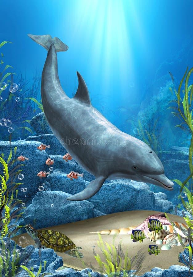 Le monde du dauphin illustration de vecteur