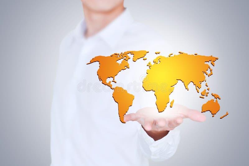 Le monde est dans des vos mains, le concept de la carte créative images stock