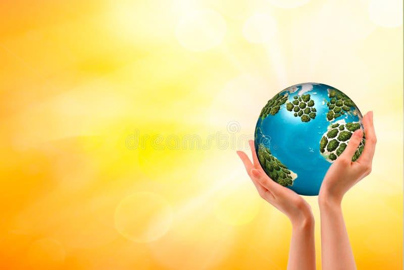le monde est dans des vos mains L'espace pour le texte photographie stock