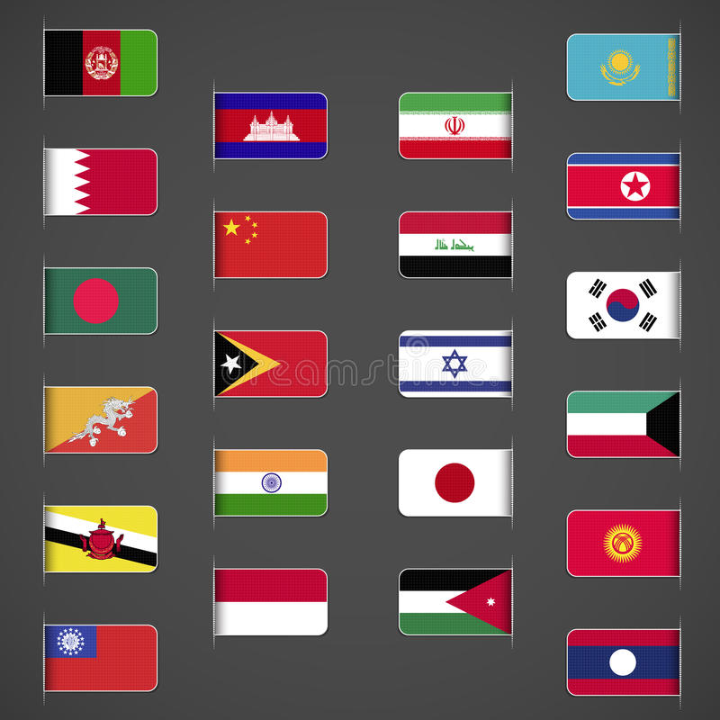 Le monde marque la collection, Asie, la partie illustration stock