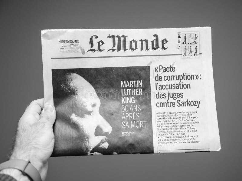 Le Monde over Martin Luther King-doods vijftigste verjaardag royalty-vrije stock afbeeldingen