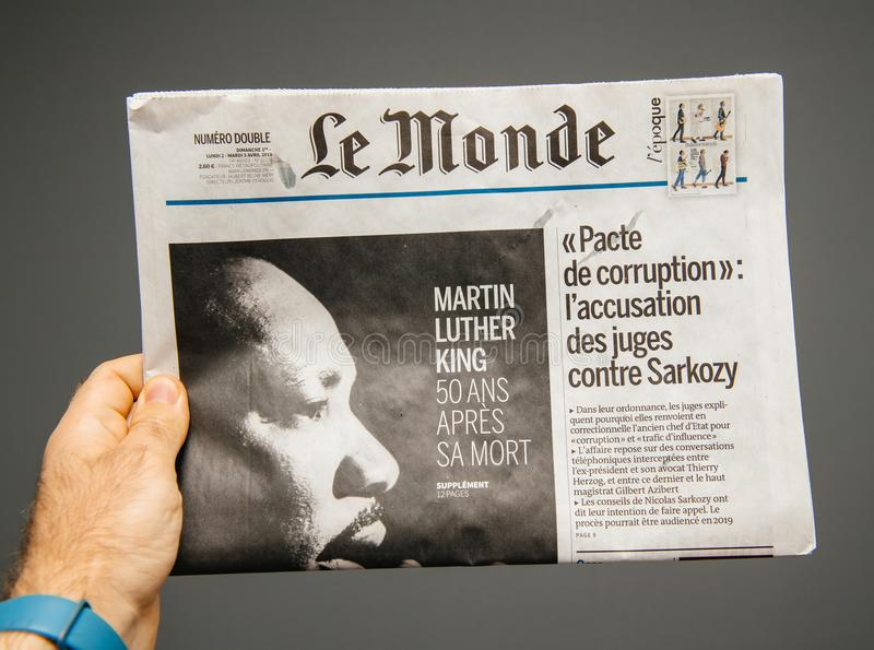 Le Monde over Martin Luther King-doods vijftigste verjaardag stock foto