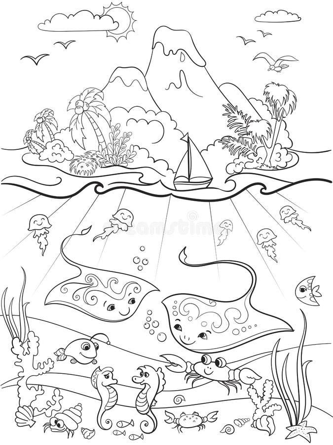 Le monde sous-marin avec la coloration de poissons, d'usines, d'île et de caravelle pour la bande dessinée d'enfants dirigent l'i illustration de vecteur