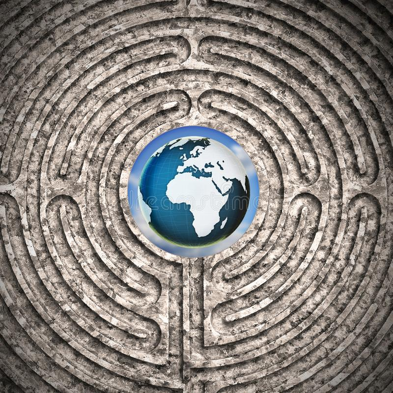 Le monde vu un labyrinthe découpé dans en pierre - image de concept photographie stock
