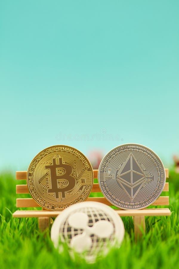 Le monete di Cryptocurrency gradiscono l'ondulazione dell'etere di Bitcoin fotografia stock