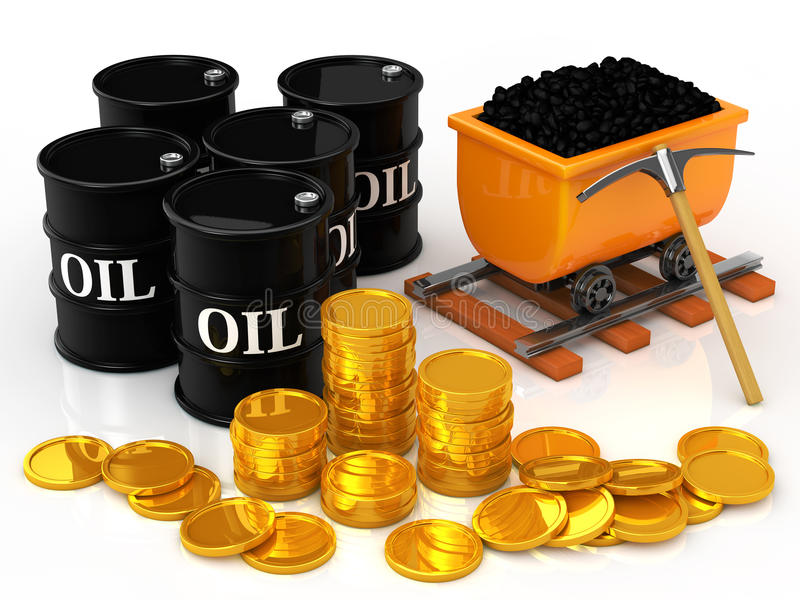 Le monete di oro al barile da olio e del carbone illustrazione vettoriale