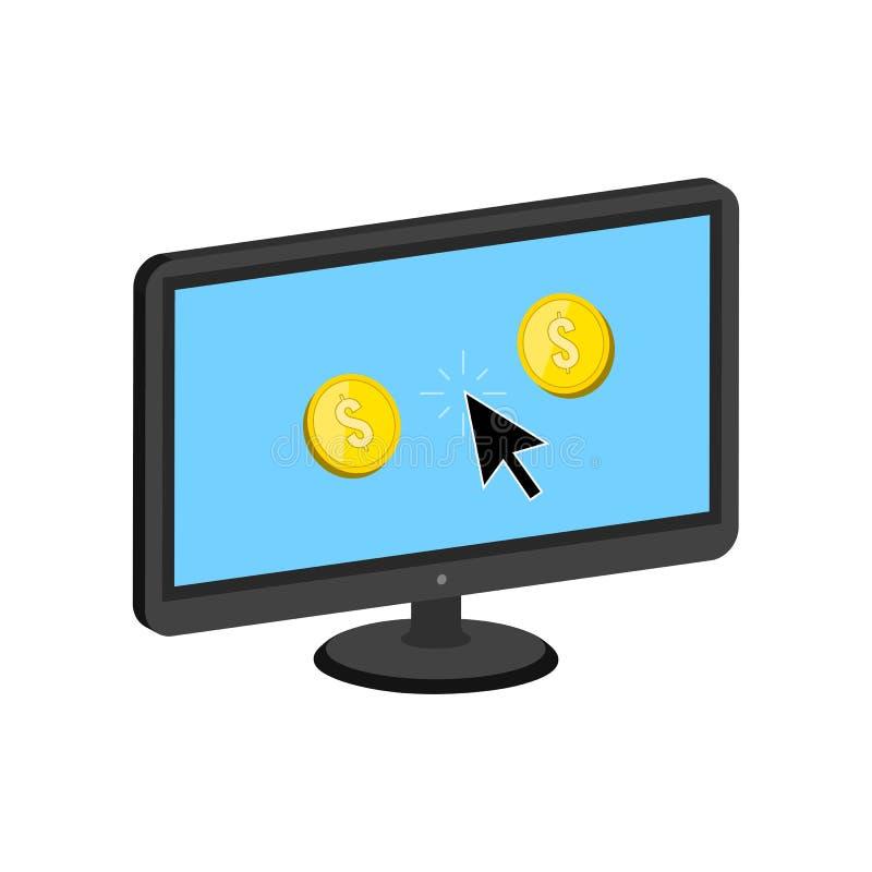 Le monete dorate saltano di esposizione, rendono a soldi il concetto online royalty illustrazione gratis