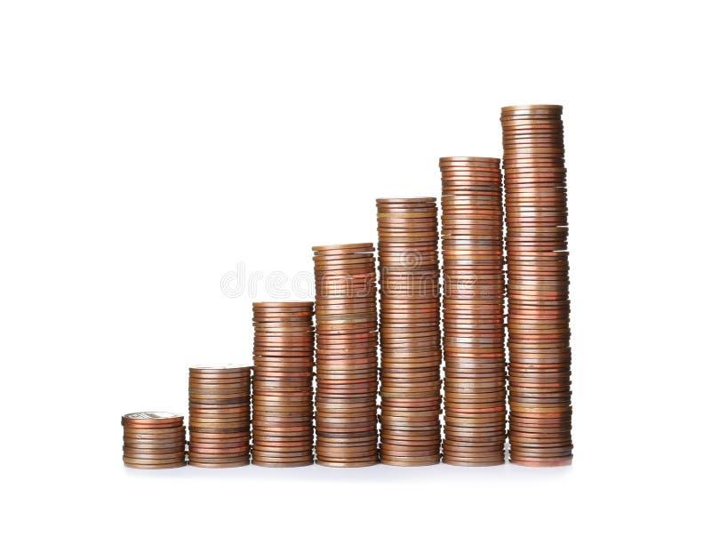 Le monete impilate del centesimo degli Stati Uniti hanno isolato immagine stock libera da diritti