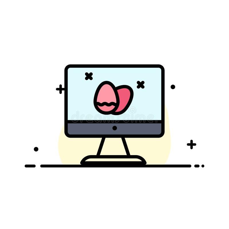 Le moniteur, écran, oeuf, ligne plate d'affaires de Pâques a rempli calibre de bannière de vecteur d'icône illustration stock