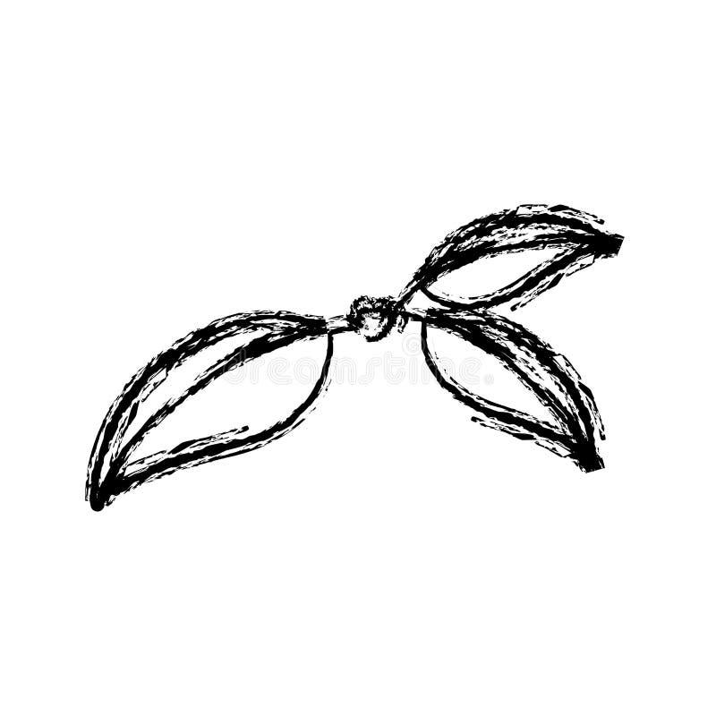 Le monochrome a brouillé la silhouette de trois feuilles de cerise de tige illustration de vecteur