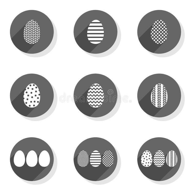 Le monochrome a modelé l'ensemble moderne plat d'icône d'oeufs illustration stock