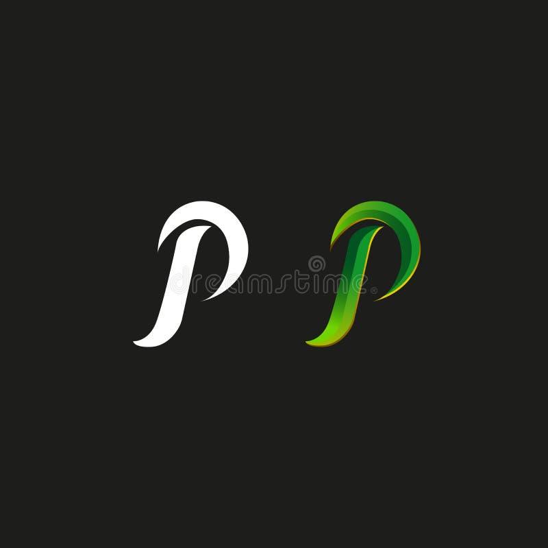 Le monogramme de style de gradient de vert de logo de la majuscule P, a placé la ligne audacieuse maquette manuscrite calligraphi illustration libre de droits