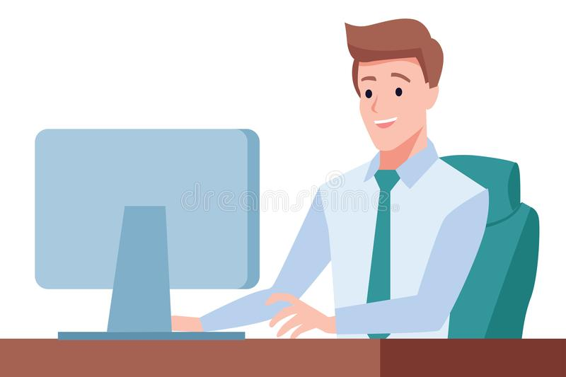 Le monsieur s'assied sur le bureau et travailler sur l'ordinateur illustration de vecteur