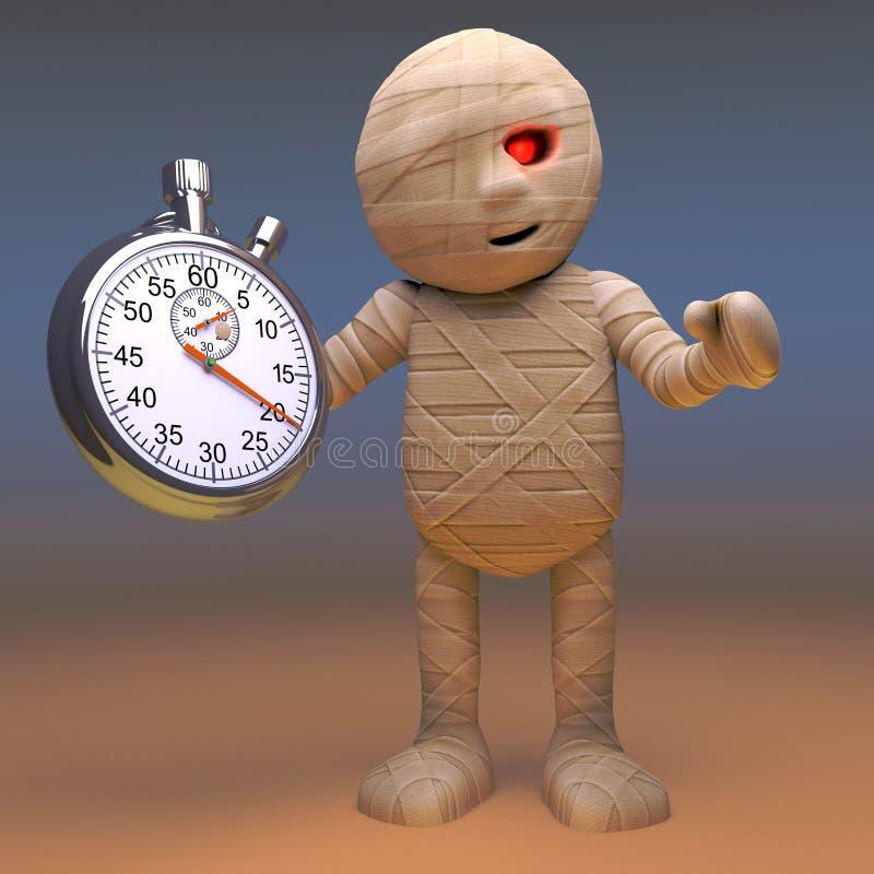 Le monstre égyptien fantasmagorique de maman étudie son chronomètre, l'illustration 3d illustration libre de droits