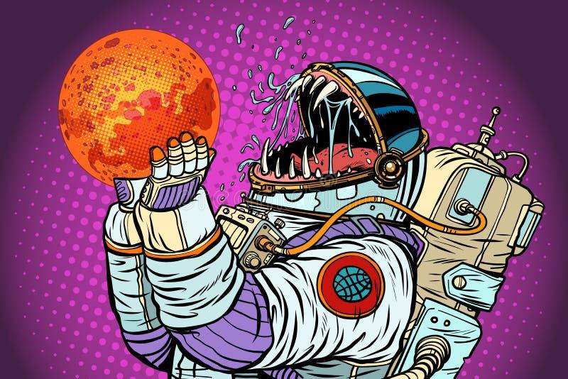 Le monstre d'astronaute mange Mars Avidité et faim de concept d'humanité illustration libre de droits
