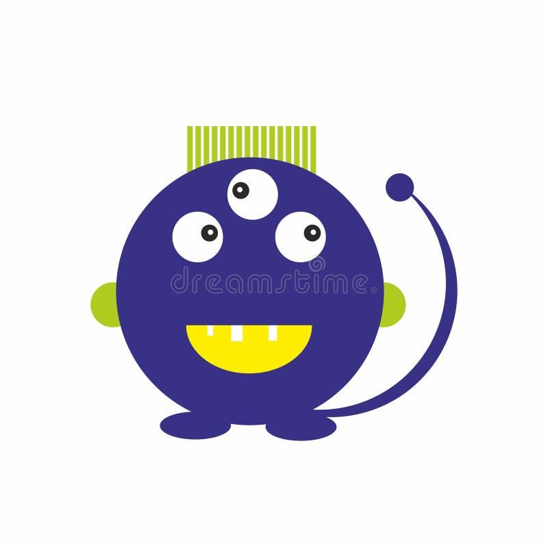 Le monstre de bllue d'amusement badine le vecteur amical d'illustration d'icône illustration stock