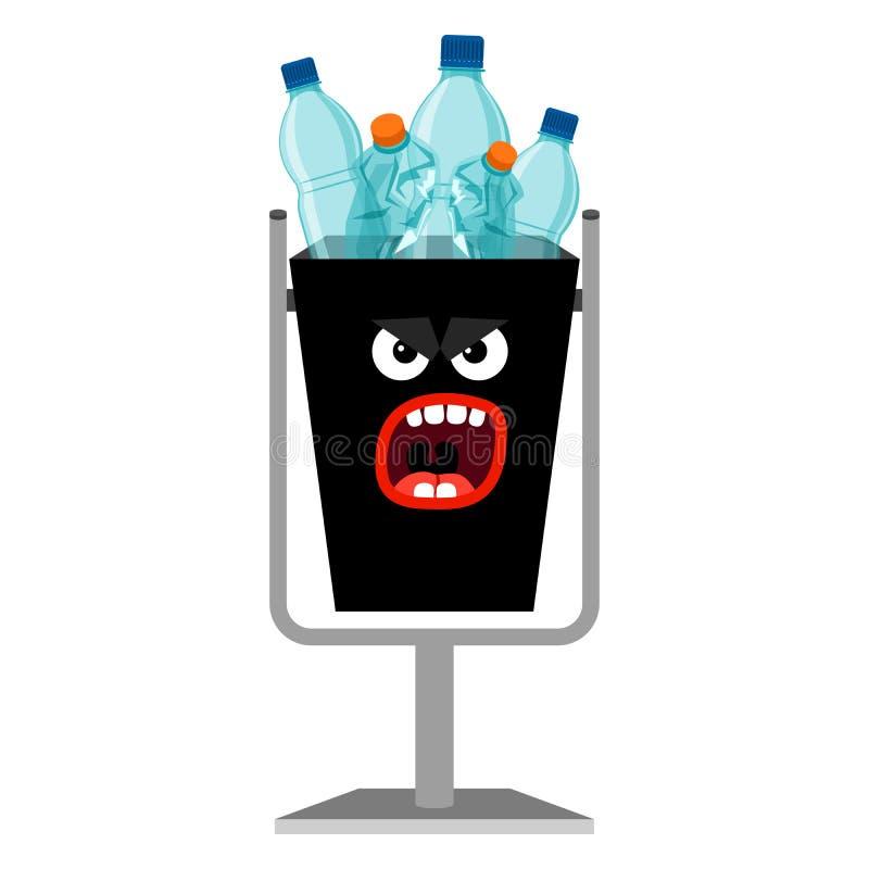 Le monstre de déchets peut avec les bouteilles en plastique illustration de vecteur