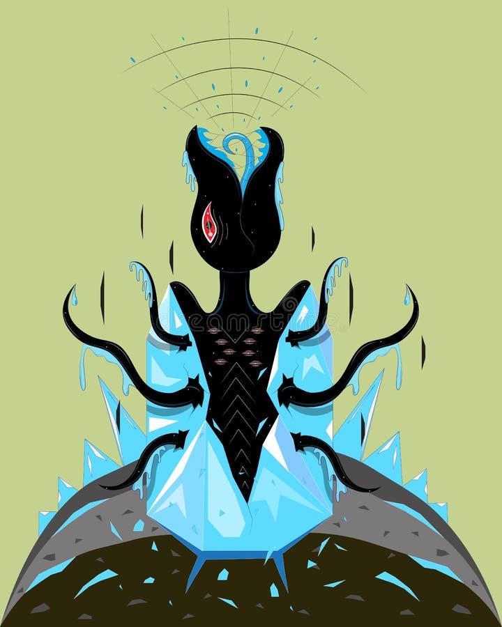 Le monstre est né d'un cristal illustration stock