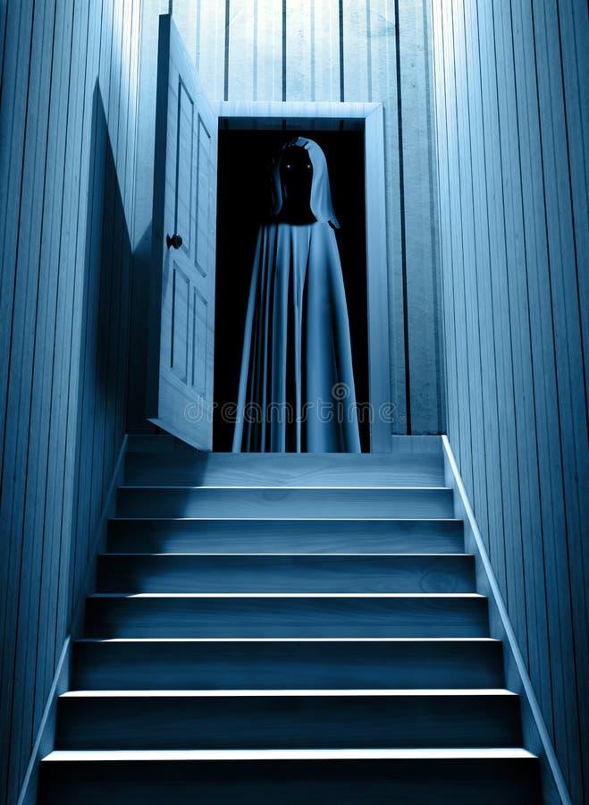 Le monstre fantasmagorique avec rougeoyer observe dans la porte ouverte illustration libre de droits