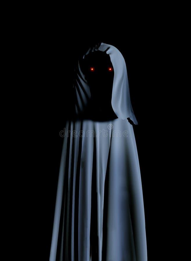 Le monstre fantasmagorique dans le manteau à capuchon avec rougeoyer observe illustration libre de droits