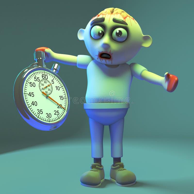 Le monstre fantasmagorique de zombi de vampires garde un oeil sur des choses avec son chronomètre, l'illustration 3d illustration de vecteur