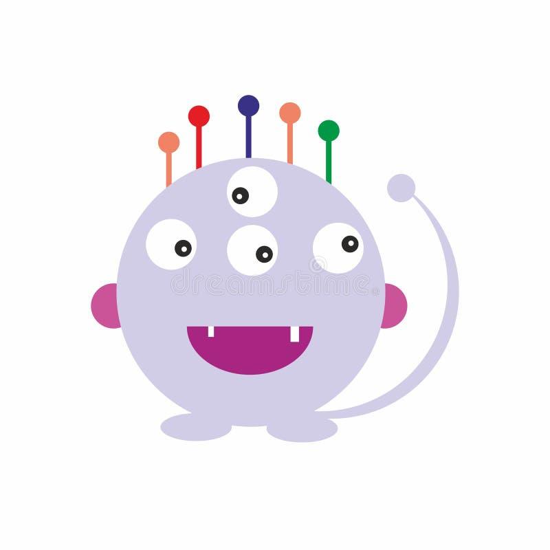 Le monstre lilas d'amusement badine le vecteur amical d'illustration d'icône illustration libre de droits