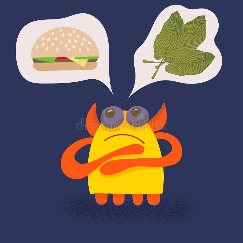 Le monstre mignon de bande dessinée attrayante d'enfants fait un choix entre les feuilles tropicales de banane ou un hamburger, e illustration libre de droits