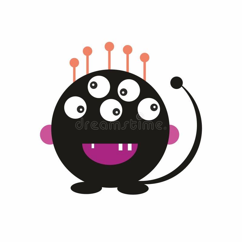 Le monstre noir d'amusement badine le vecteur amical d'illustration d'icône illustration de vecteur