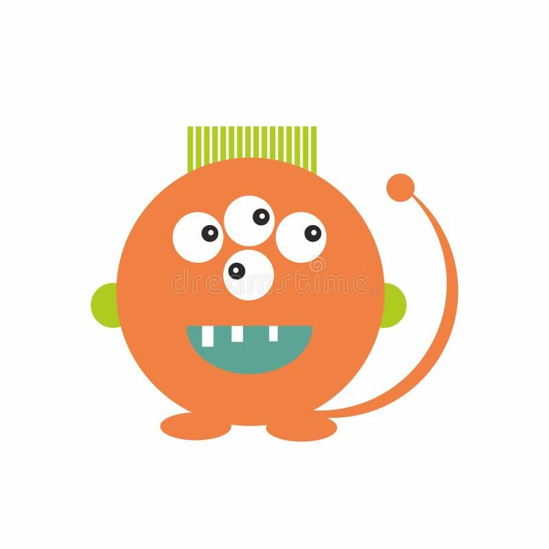 Le monstre orange d'amusement badine le vecteur amical d'illustration d'icône illustration de vecteur
