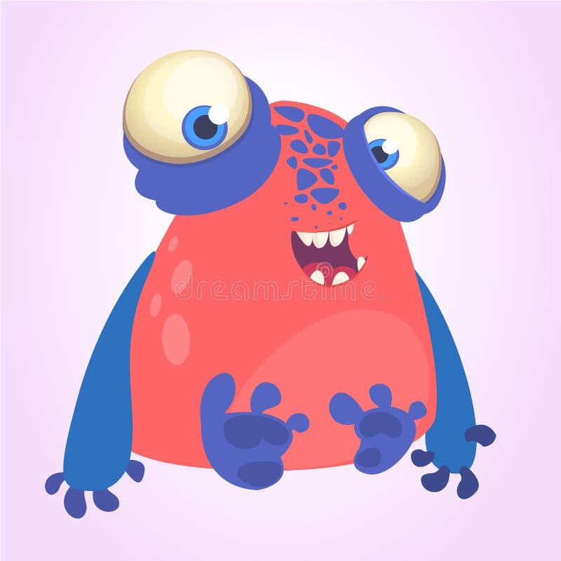 Le monstre rouge maladroit avec le bleu remet la bande dessinée Illustration de vecteur illustration libre de droits