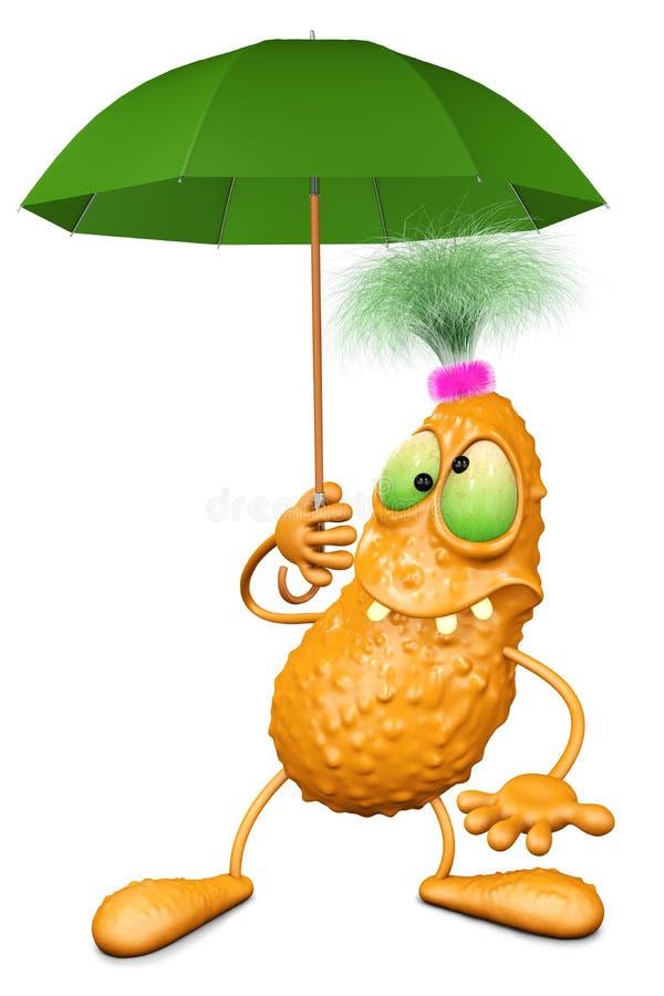 Le monstre tient un parapluie de couleur verte illustration stock