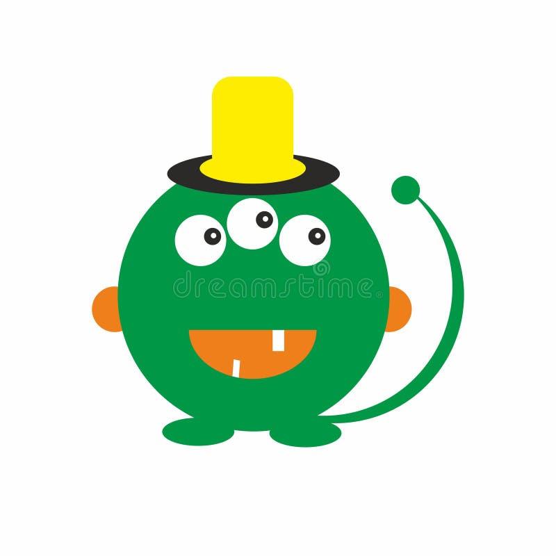 Le monstre vert d'amusement badine le vecteur amical d'illustration d'icône illustration stock