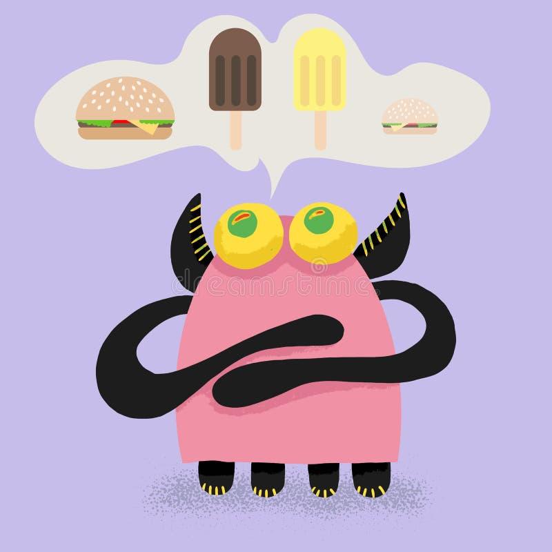 Le monstrika mignon de bébé attirant veut manger, un hamburger grand ou petit crème glacée ou chocolat d'ananas, quel choix il fe illustration de vecteur